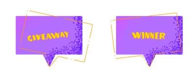 Κάρτα Giveaway και νικητών που τίθεται για τα μέσα socail επίσης corel σύρετε το διάνυσμα απεικόνισης διανυσματική απεικόνιση