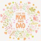 Κάρτα Mom και μπαμπάς Στοκ Φωτογραφίες