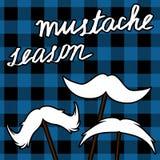 Κάρτα Movember moustache με το σχέδιο υλοτόμων Διάνυσμα εποχής Mustache clipart Στοκ εικόνες με δικαίωμα ελεύθερης χρήσης