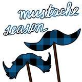 Κάρτα Movember moustache με το σχέδιο υλοτόμων Διάνυσμα εποχής Mustache clipart Στοκ Φωτογραφία