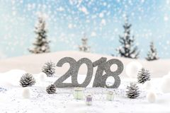 κάρτα PT του 2018 bnner σε ένα υπόβαθρο χιονιού lasndscape Στοκ φωτογραφίες με δικαίωμα ελεύθερης χρήσης