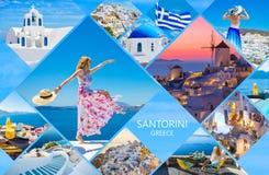 Κάρτα Santorini, κολάζ των όμορφων φωτογραφιών από το διάσημο ελληνικό νησί στοκ φωτογραφίες