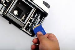 Κάρτα SD στη κάμερα 1 ταινιών στοκ φωτογραφίες