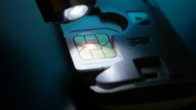 Κάρτα Sim του τηλεφώνου απόθεμα βίντεο