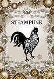 Κάρτα Steampunk Αναδρομική απεικόνιση με τους βολβούς του ματιού Εκλεκτής ποιότητας πρόσκληση Κόκκορας εργαλείων σε ένα επίπεδο ύ Στοκ Εικόνες