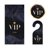 Κάρτα VIP πρόσκλησης, προειδοποιώντας κρεμάστρα και διακριτικό Στοκ Εικόνα