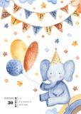 Κάρτα Watercolor για τα γενέθλια παιδιών ` s απεικόνιση αποθεμάτων