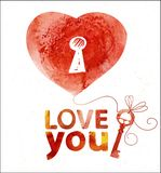 Κάρτα Watercolor με την καρδιά για σας Στοκ Φωτογραφίες