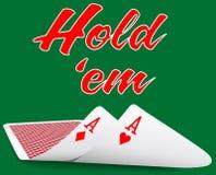 Κάρτες άσσων ζευγαριού πόκερ Holdem κάτω Στοκ Φωτογραφίες