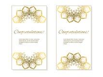 Κάρτες ή προσκλήσεις που τίθενται με τη φυλετική εθνική διακόσμηση mandala Στοκ Φωτογραφίες