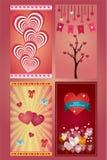 Κάρτες αγάπης χαιρετισμού ημέρας βαλεντίνων σε 4 παραλλαγές στοκ εικόνες