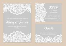 Κάρτες δαντελλών για το γάμο Στοκ εικόνες με δικαίωμα ελεύθερης χρήσης