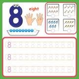 Κάρτες αριθμού, αριθμοί υπολογισμού και γραψίματος, αριθμοί εκμάθησης, αριθμοί που επισημαίνουν το φύλλο εργασίας για τον παιδικό ελεύθερη απεικόνιση δικαιώματος
