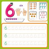 Κάρτες αριθμού, αριθμοί υπολογισμού και γραψίματος, αριθμοί εκμάθησης, αριθμοί που επισημαίνουν το φύλλο εργασίας για τον παιδικό απεικόνιση αποθεμάτων