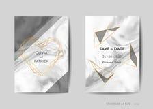 Κάρτες γαμήλιας πρόσκλησης, εκτός από την ημερομηνία με το καθιερώνον τη μόδα μαρμάρινο υπόβαθρο σύστασης και το χρυσό γεωμετρικό απεικόνιση αποθεμάτων