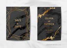 Κάρτες γαμήλιας πρόσκλησης, εκτός από την ημερομηνία με το καθιερώνον τη μόδα μαρμάρινο υπόβαθρο σύστασης και το χρυσό γεωμετρικό διανυσματική απεικόνιση