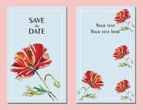 Κάρτες γαμήλιας πρόσκλησης με μια κόκκινη διανυσματική απεικόνιση παπαρουνών απεικόνιση αποθεμάτων