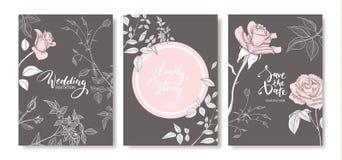 Κάρτες γαμήλιας πρόσκλησης με συρμένα τα χέρι τριαντάφυλλα Η Floral αφίσα, προσκαλεί Διανυσματική διακοσμητική ευχετήρια κάρτα, υ απεικόνιση αποθεμάτων