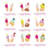 Κάρτες γενεθλίων καθορισμένες Εορταστικοί γλυκοί αριθμοί από 11 έως 19 Άχυρα Coctail Αστείοι διακοσμητικοί χαρακτήρες διάνυσμα Στοκ Φωτογραφίες