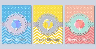 Κάρτες γενεθλίων Πρότυπα διακοπών επίσης corel σύρετε το διάνυσμα απεικόνισης στοκ εικόνα με δικαίωμα ελεύθερης χρήσης