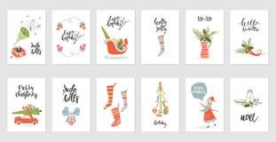 Κάρτες δώρων Χαρούμενα Χριστούγεννας συλλογής Στοκ Εικόνες