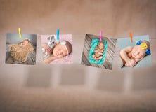 Κάρτες εγγράφου των μωρών που κρεμούν στο σχοινί Στοκ Εικόνα
