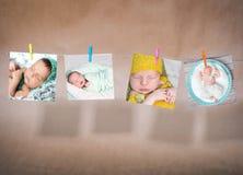 Κάρτες εγγράφου των μωρών που κρεμούν στο σχοινί Στοκ εικόνες με δικαίωμα ελεύθερης χρήσης