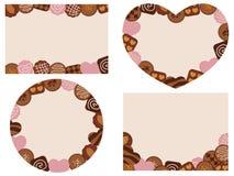 Κάρτες ημέρας βαλεντίνων με τις διάφορες σοκολάτες διανυσματική απεικόνιση
