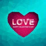 Κάρτες ημέρας βαλεντίνου με την καρδιά πολυγώνων Αφηρημένο διάνυσμα αγάπης Στοκ εικόνα με δικαίωμα ελεύθερης χρήσης
