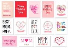 Κάρτες ημέρας μητέρων ` s, διανυσματικό σύνολο Στοκ Φωτογραφίες