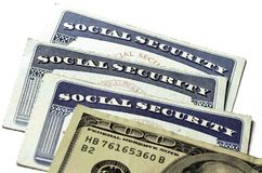 Κάρτες κοινωνικής ασφάλισης για τον προσδιορισμό και για τα οφέλη Στοκ Φωτογραφίες