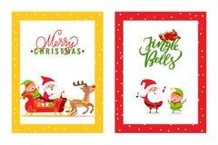 Κάρτες με Άγιο Βασίλη, τάρανδος, νεράιδα, νάνος ελεύθερη απεικόνιση δικαιώματος