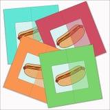 Κάρτες με ένα χοτ-ντογκ στη ζωηρόχρωμη διασπορά υποβάθρων Στοκ Εικόνες
