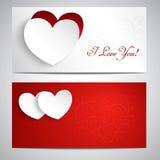 Κάρτες με τις καρδιές Στοκ Εικόνες