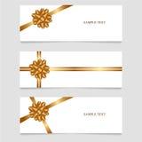 Κάρτες με τις χρυσές κορδέλλες επίσης corel σύρετε το διάνυσμα απεικόνισης τοποθετήστε το κείμενο Στοκ Εικόνα