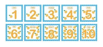 Κάρτες με τους αριθμούς από 1 έως 10, σύνολο Αριθμοί εκμάθησης, μαθηματικά απεικόνιση αποθεμάτων