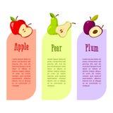 Κάρτες με το διάστημα για το κείμενό σας οφέλη φρούτων Κόκκινα μήλο, αχλάδι και δαμάσκηνο απεικόνιση αποθεμάτων