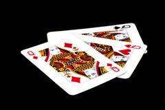 Κάρτες παιχνιδιού σε ένα ζωηρόχρωμο μαλακό υπόβαθρο Στοκ φωτογραφίες με δικαίωμα ελεύθερης χρήσης