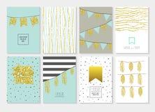 Κάρτες πρόσκλησης γενεθλίων καθορισμένες Χρυσός ακτινοβολήστε ιπτάμενο, ελεύθερη απεικόνιση δικαιώματος