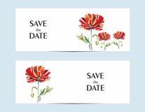 Κάρτες πρόσκλησης με μια κόκκινη παπαρούνα για το σχέδιό σας διανυσματική απεικόνιση