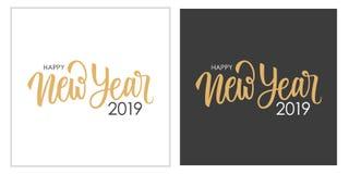 Κάρτες σχεδίου κειμένων καλής χρονιάς 2019 καλλιγραφικές γράφοντας καθορισμένες Δημιουργική τυπογραφία για τους νέους χαιρετισμού απεικόνιση αποθεμάτων