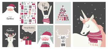 Κάρτες Χαρούμενα Χριστούγεννας, απεικονίσεις και εικονίδια, συλλογή σχεδίου εγγραφής - αριθ. 4 Στοκ Φωτογραφίες