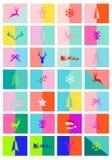 Κάρτες Χριστουγέννων, 28 ζωηρόχρωμα πρότυπα σχεδιαγράμματος, διάνυσμα ελεύθερη απεικόνιση δικαιώματος