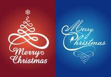 Κάρτες Χριστουγέννων, διανυσματικό σύνολο Στοκ Εικόνα
