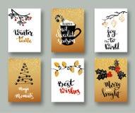 Κάρτες Χριστουγέννων και ετικέττες δώρων με την καλλιγραφία Χειρόγραφη σύγχρονη εγγραφή Χειρόγραφες επιθυμίες Χριστουγέννων για τ διανυσματική απεικόνιση
