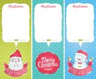 Κάρτες Χριστουγέννων με Άγιο Βασίλη, χιονάνθρωπος Στοκ Εικόνες