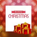 Κάρτες Χριστουγέννων με το κιβώτιο δώρων και το υπόβαθρο σχεδίων Στοκ εικόνες με δικαίωμα ελεύθερης χρήσης