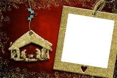 Κάρτες Χριστουγέννων πλαισίων φωτογραφιών, σκηνή Nativity Στοκ εικόνες με δικαίωμα ελεύθερης χρήσης