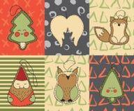 Κάρτες Χριστουγέννων που τίθενται με τα χαριτωμένα παιχνίδια Χριστουγέννων κινούμενων σχεδίων, δέντρο, φτερά αγγέλου, αλεπού, Άγι Στοκ φωτογραφία με δικαίωμα ελεύθερης χρήσης