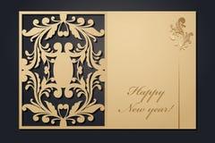Κάρτες Χριστουγέννων προτύπων για την κοπή λέιζερ Μέσω της εικόνας του νέου έτους σκιαγραφιών επίσης corel σύρετε το διάνυσμα απε διανυσματική απεικόνιση